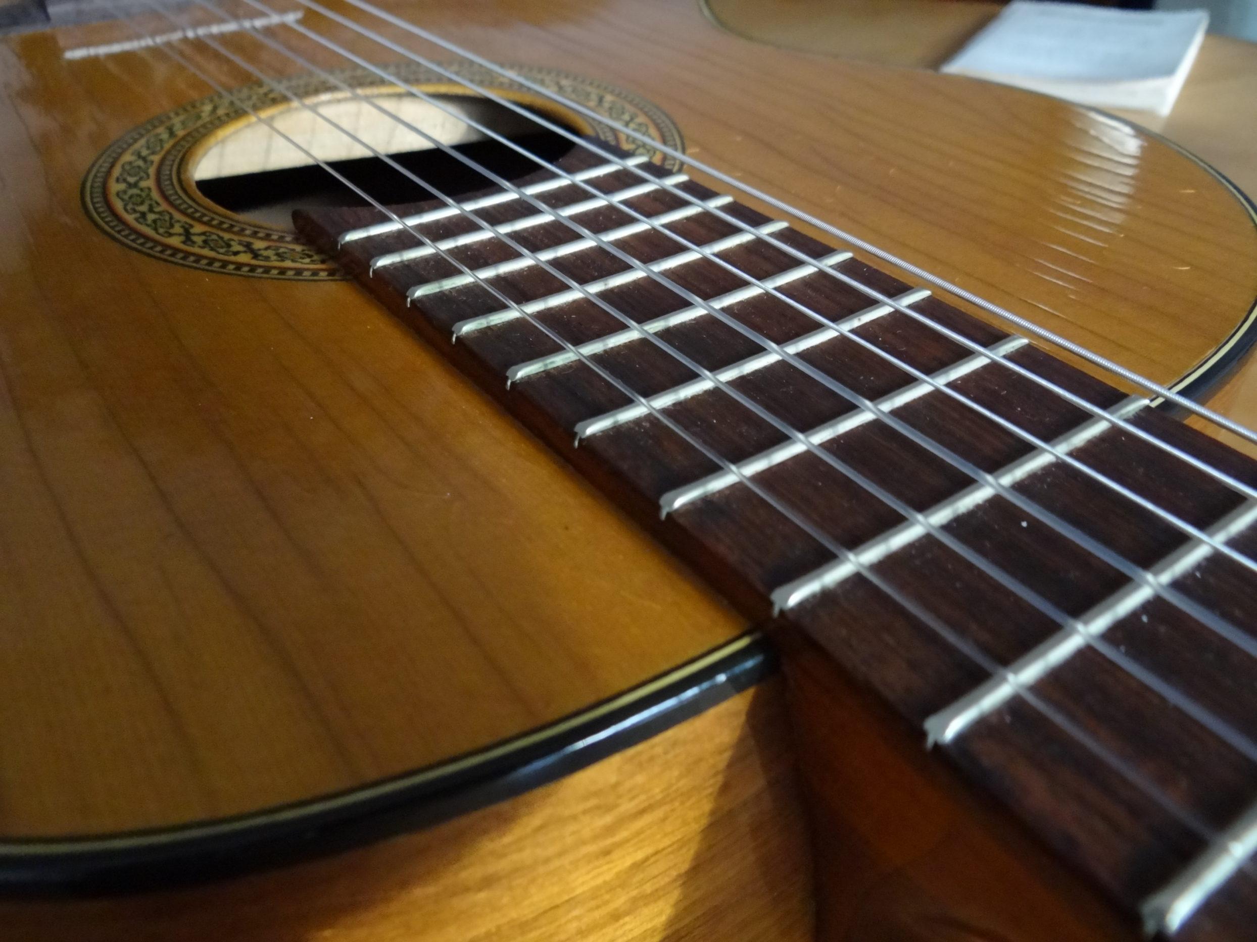 Zbliżenie gryfu gitary