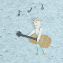 rysunek człowieka z gitarą