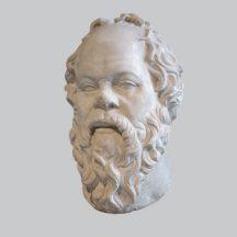 Sokrates, głowa na szarym tle