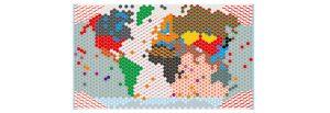 wzór maseczki, mapa świata
