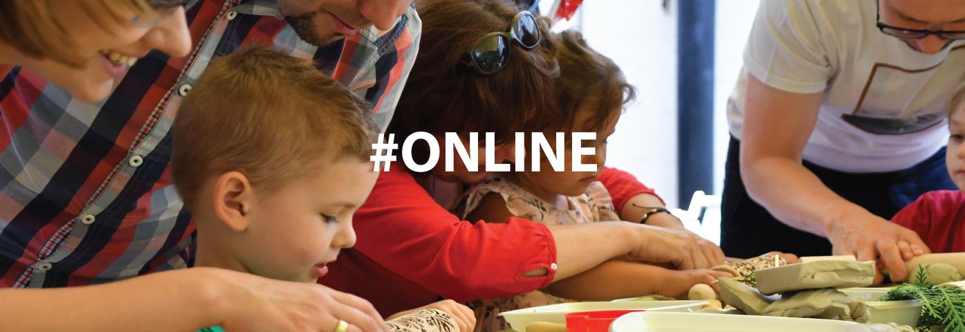 dzieci z rodzicami, napis #online