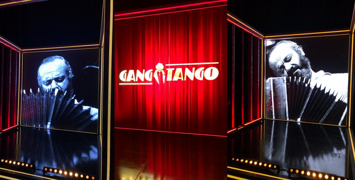 dwóch mężczyzn z instrumentami, napis Gang Tango