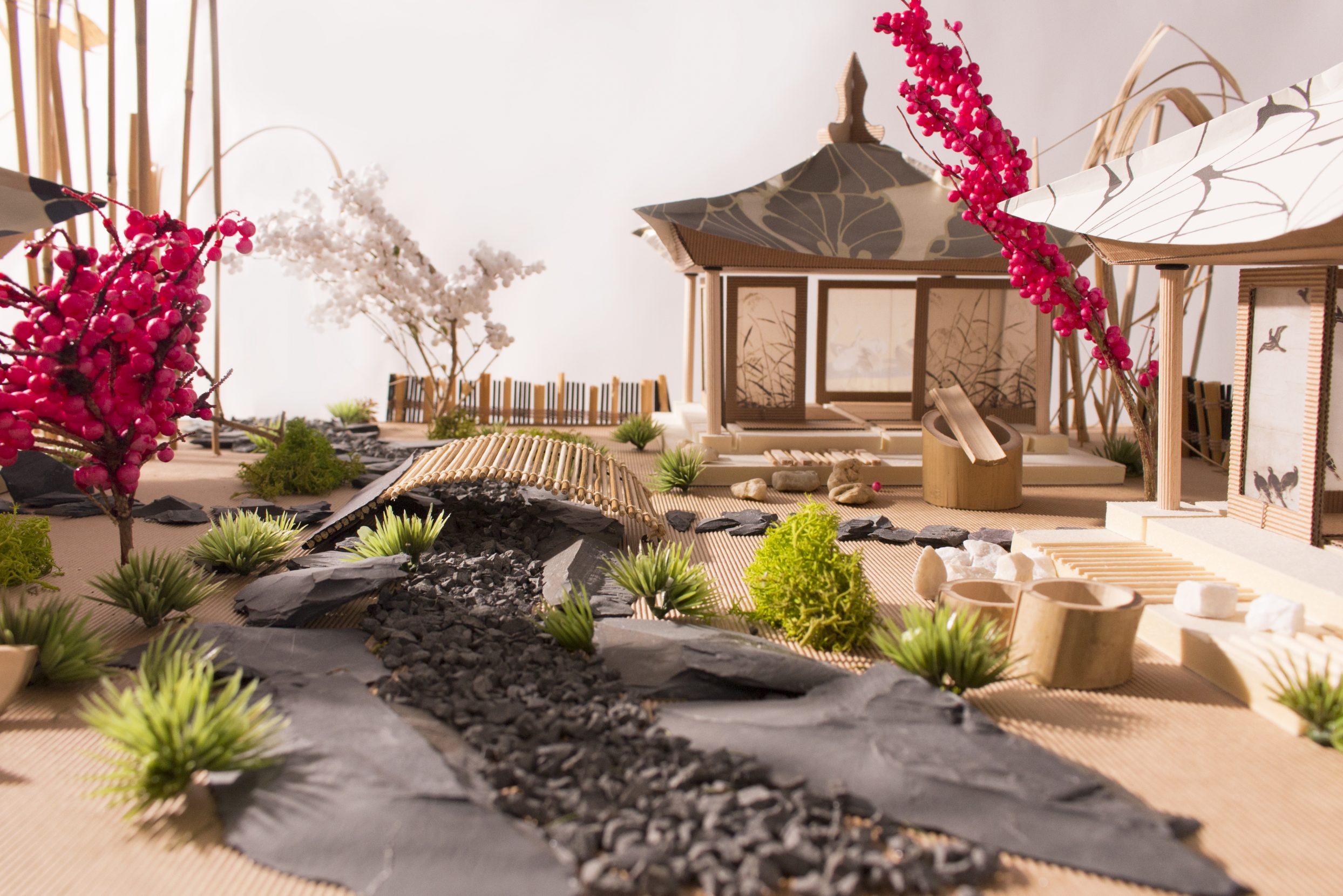 maketa Japonii, domki, drzewa