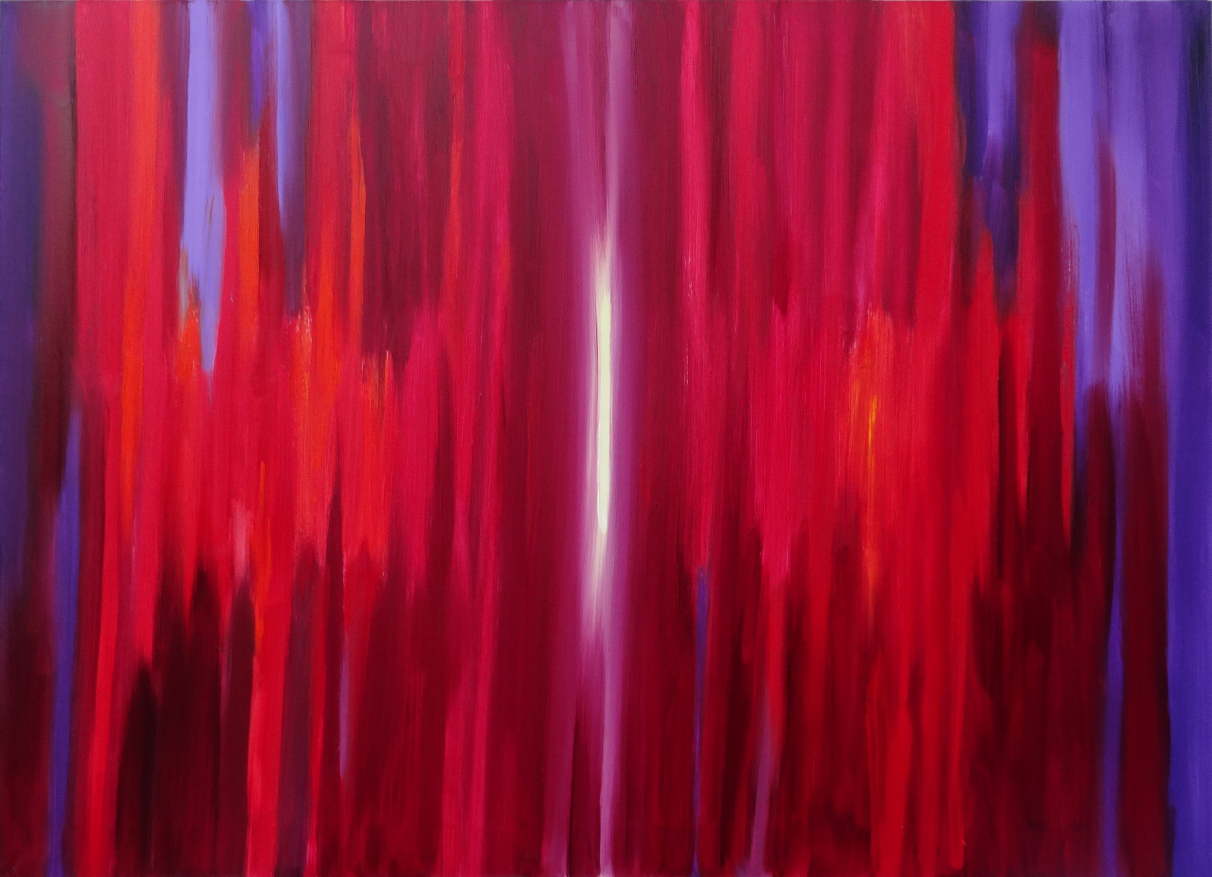 obraz abstrakcyjny, barwy czerwono fioletowe