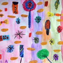 rysunek dziecka. na kolorowym tle wiele małych kolorowych elementów- drzew, lodów, kółek, ważek