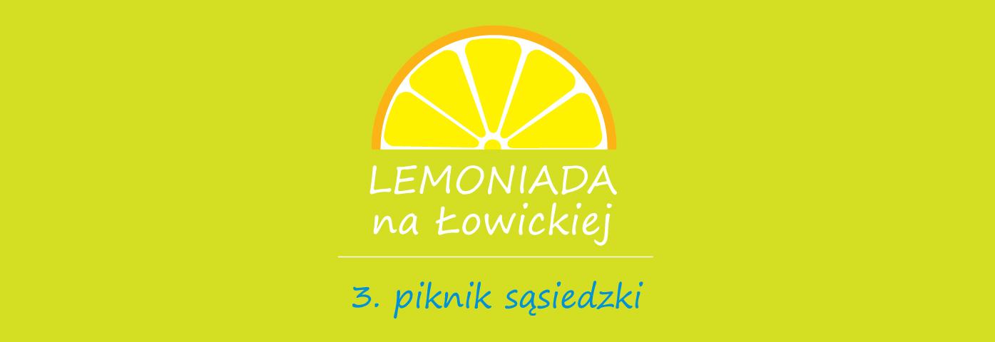 na zielonym tle napis Lemoniada na Łowickiej 3. piknik sąsiedzki