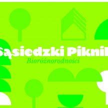 grafika zielono biała z napisem Sąsiedzki Piknik