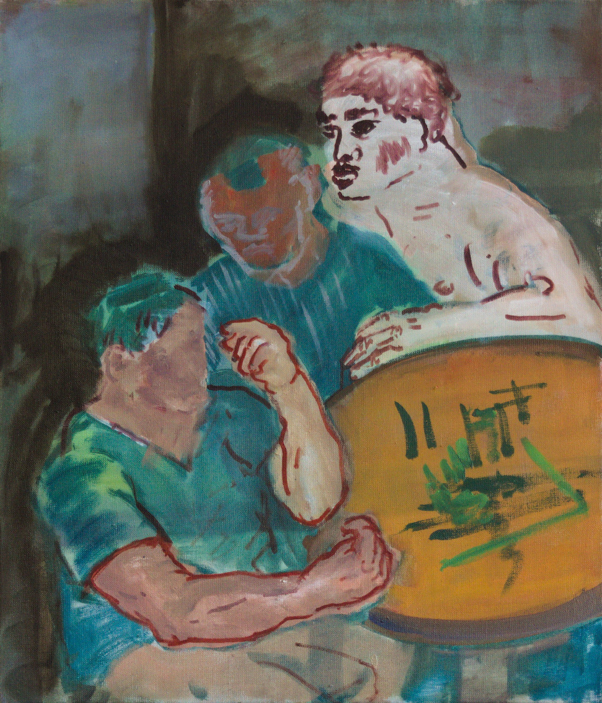 malarstwo, 3 osoby przy stoliku